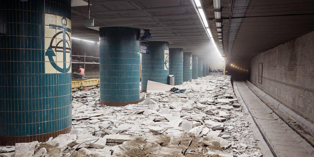 Das passiert an der Station Landungsbrücken: Ein Blick auf die Baustelle